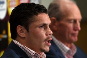 James Roberts (left) and coach Wayne Bennett announcing the four-year deal.