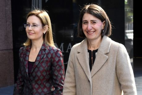 NSW Premier Gladys Berejiklian and Minister for Local Government Gabrielle Upton arrive at a press conference on council ...