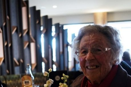 Canberra's Sheilah Barrie celebrating at her beloved Ainslie Football Club.