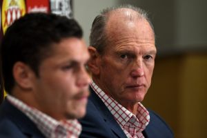 """""""He's given up alcohol, given up drugs"""": Wayne Bennett announces James Roberts' re-signing."""