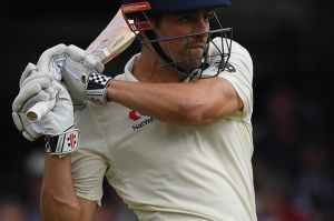 Alastair Cook batted through a rain-interrupted day.