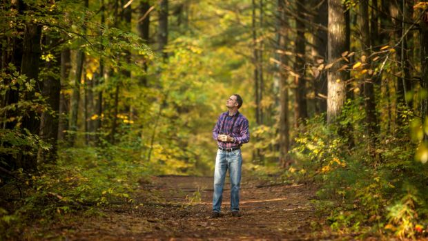 David Haskell in the forest at the University of the South in Sewanee, Tennessee, where he teaches.