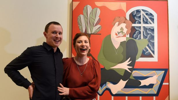 Mitch Cairns and Agatha Gothe-Snape with his Archibald Prize winning portrait of her.