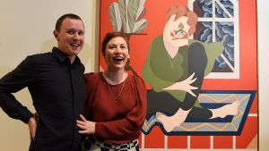 Mitch Cairns, winner of the 2017 Archibald Prize, with his partner Agatha Gothe-Snape in front of his Matisse-style ...