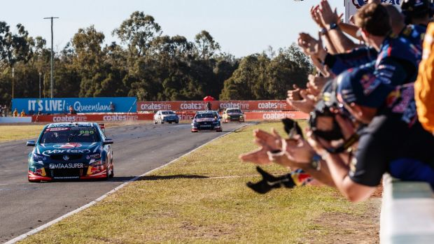 Craig Lowndes racing at the Queensland Raceway at Ipswich. The circuit is set to stay in the Supercars series until 2028.