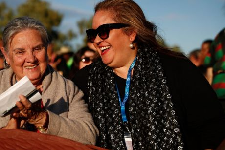 Megan Davis (right) at the First Nations National Convention held in Uluru earlier this year.