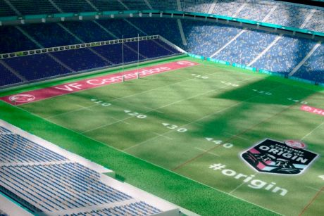 Four sides: An artist's impression of a rectangular ANZ Stadium for State of Origin.
