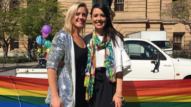 Engaged Brisbane couple Kristen Watt and Kate Wildermuth are just one of many couples waiting for the law to change.