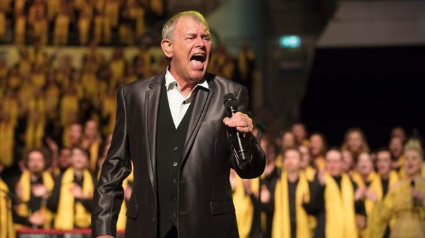 John Farnham performs with at the Queensland Music Festival concert at South Bank Piazza where 2500 singers gathered to ...