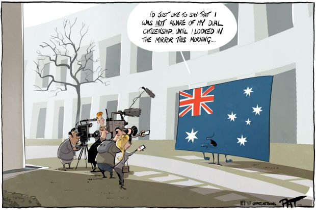 The?Canberra Times editorial cartoon for Monday, July 31, 2017. Dual citizenship. Australian flag. press conference at ...