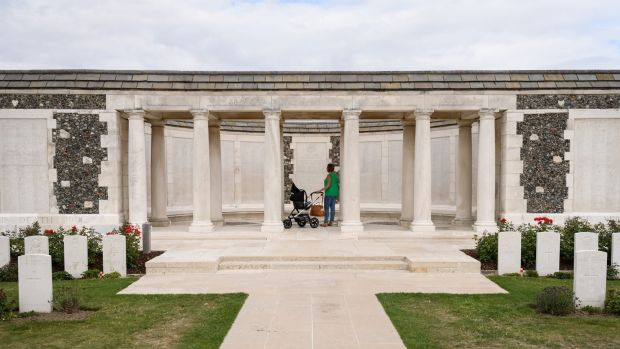 The New Zealand memorial at the Tyne Cot Cemetery in Zonnebeke on the old Ypres Salient battlefields.
