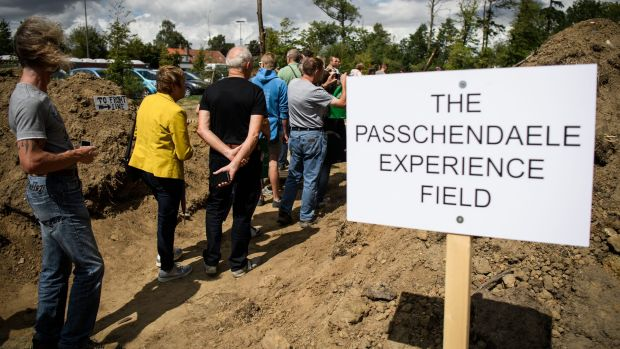 Tourists visit World War One trenches in Ypres.
