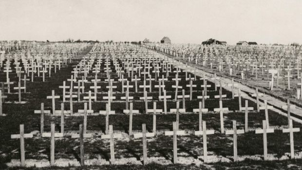 The Tyne Cot Cemetery in Passchendaele, Belgium pictured in an undated photo taken either during or after the ...