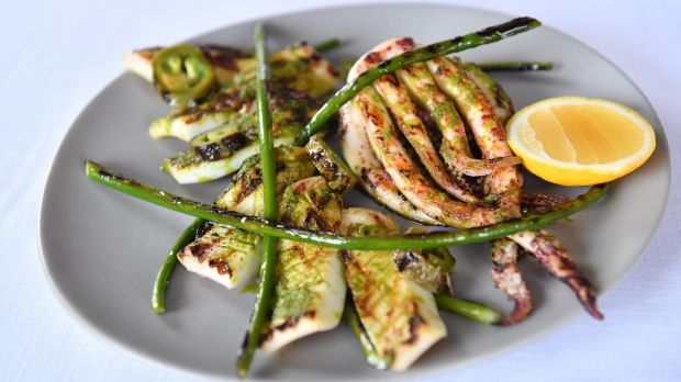 Grilled squid with jalapeno and coriander.