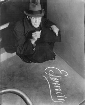 Mr. Arthur Stace and his signature, which he drew in chalk at least 500,000 times across Sydney in 35 years.