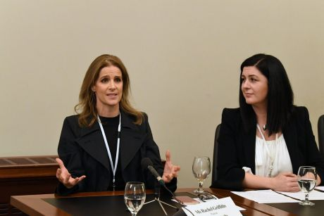 Australian actress Rachel Griffiths (left) and Hagar CEO Jo Pride appear before a Modern Slavery Inquiry at Parliament ...