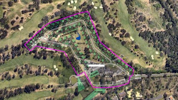The location of the federal golf club housing proposal in Canberra from a 2016 brochure. The club wants to build 125 ...