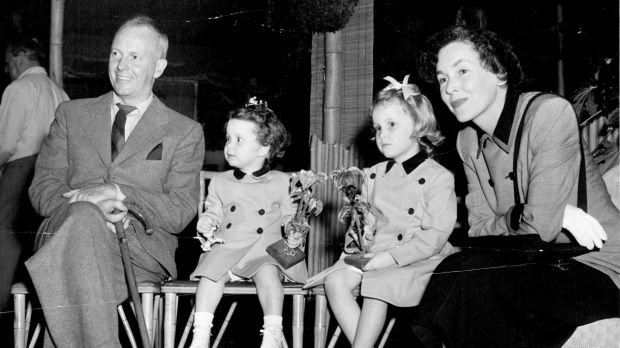 John Farrow and Maureen O'Sullivan with two of their daughters in 1953.