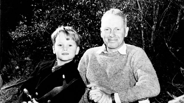 John Farrow poses with his six-year-old son Michael, during location filming of <i>California</i> in 1946.