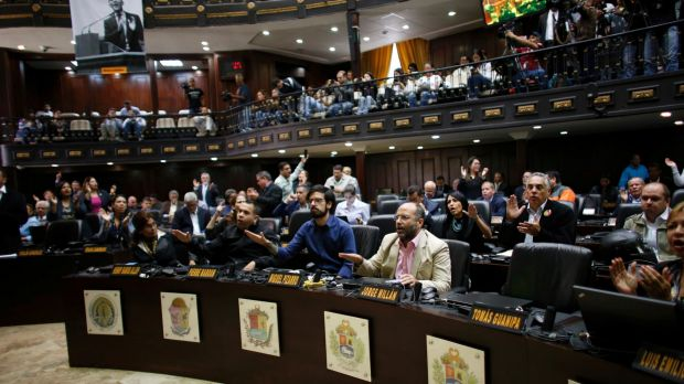 """Opposition lawmakers shout """"Fraud, fraud during a session of Venezuelan National Assembly in Caracas, Venezuela, ..."""