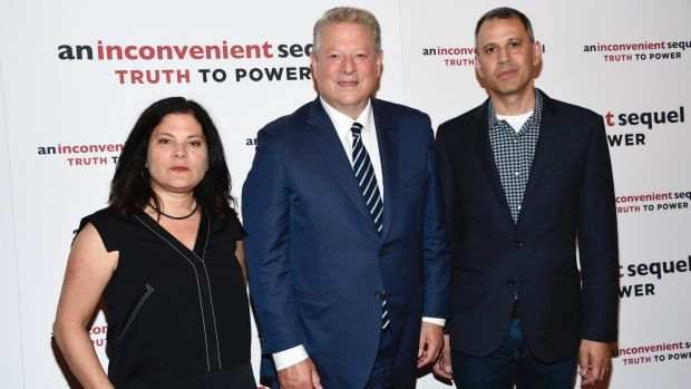 Co-directors Bonni Cohen, left, and Jon Shenk with Al Gore at a screening of the latest movie in New York.