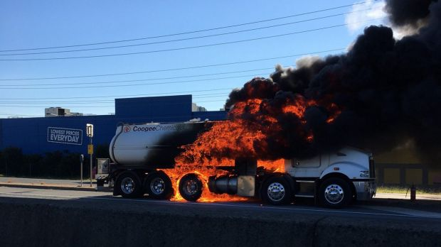 Truck explodes on Brisbane M1 at Loganholme, nearby businesses asked to evacuate