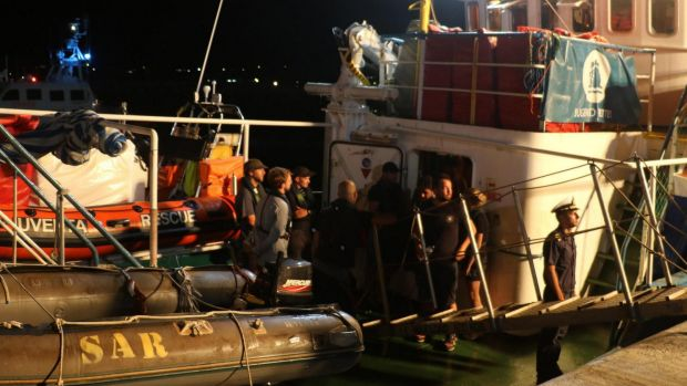 The Iuventa Ship of the German NGO Jugend Rettet is seized at Lampedusa harbour, Italy, on August 2.