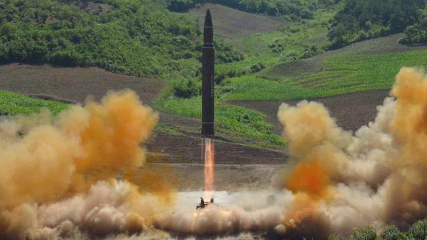 A North Korean government photograph of what it says was the launch of a Hwasong-14 intercontinental ballistic missile ...