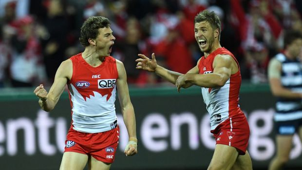Swans Will Hayward and Kieren Jack had plenty to shout about at Simonds Stadium on Friday night.