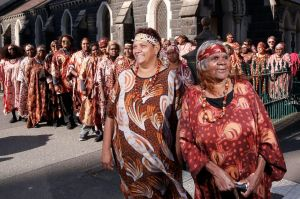 Stars of The Song Keepers, the Central Australian Women's Aboriginal Choir, outside the German Lutheran Trinity Church ...