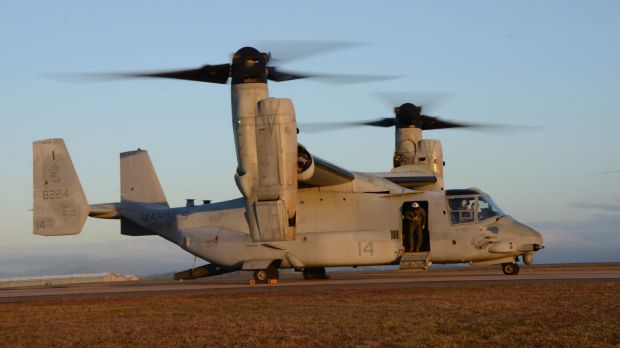 An MV-22 Osprey pictured at an RAAF Base in Townsville.