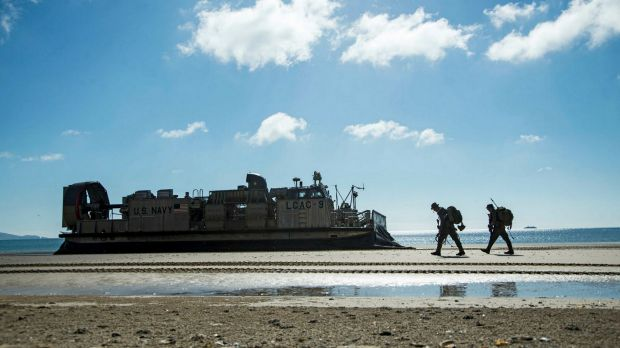 Marines from the 31st Marine Expeditionary Unit on a beach in central Queensland during the Talisman Saber exercise.