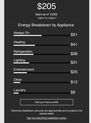 A screenshot of part of the new Bidgely application that Origin Energy will trial for its customers.