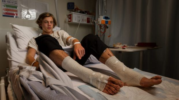 Teenager's legs covered in blood after being 'eaten' by mystery sea creatures