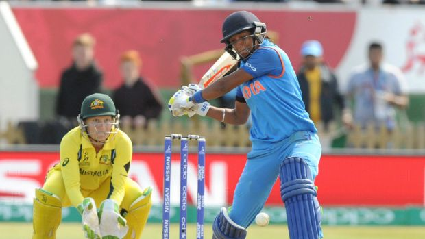 India's Harmanpreet Kaur plays a shot during the ICC Women's World Cup 2017 semi-final between Australia and India at ...