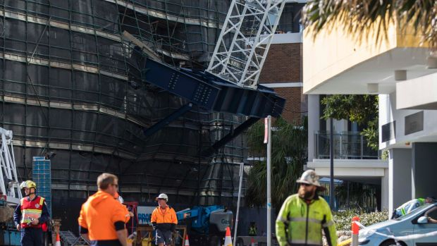 The base of the crane which collapsed and injured three men.