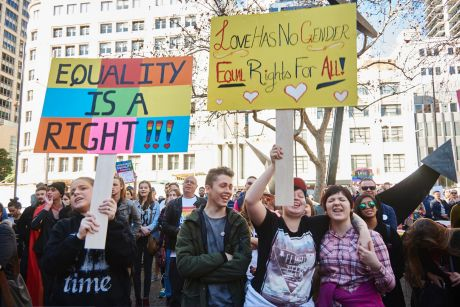 Protestors at a marriage equality rally outside Sydney Town Hall.
