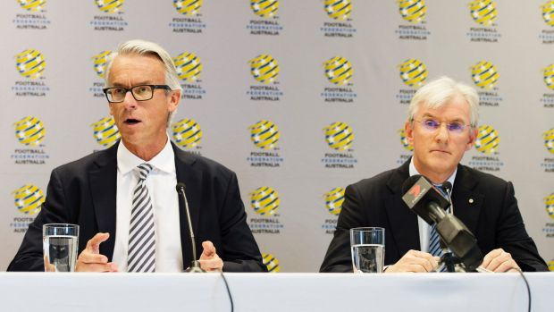 Football Federation Australia chief David Gallop and chairman Steven Lowy.