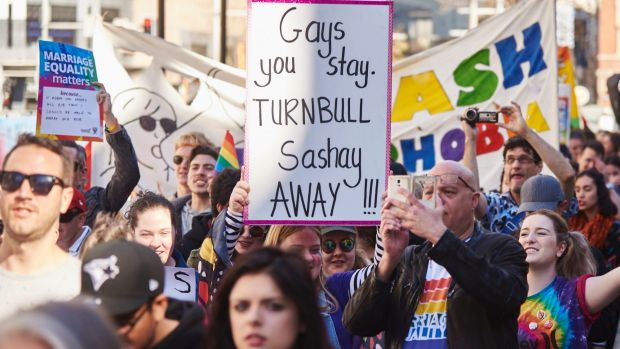Protesters at a marriage equality rally outside Sydney's Town Hall last week.