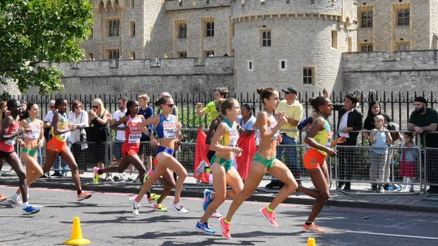 Ethiopia's Aselefech Mergia, Portugal's Catarina Ribeiro and Australia's Jessica Trengove (from right) lead the pack of ...