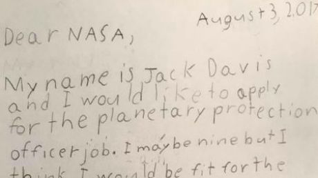 Jack Davis wrote to NASA applying for a job.