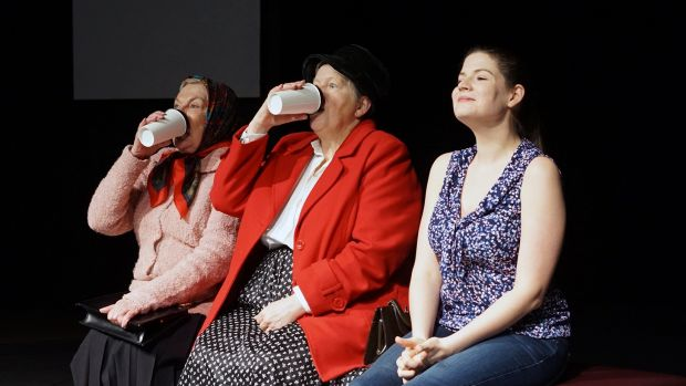 <i>Neighbourhood Watch</I> is worth seeing for the performances of Judi Crane (left), Liz de Totth and Alex McPherson alone.