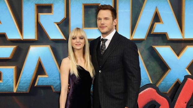 "Actors Anna Faris, left, and Chris Pratt pose for photographers upon arrival at the premiere of the film ""Guardians of ..."