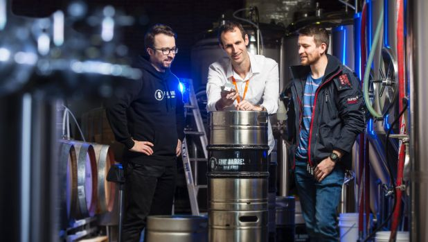 Brewer James O'Shea, entrepreneur Michael Burton and James Rule.