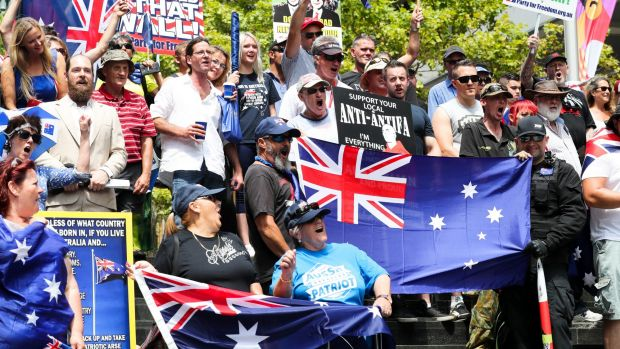 Protesters at a Reclaim Australia Rally in Martin Place, Sydney.