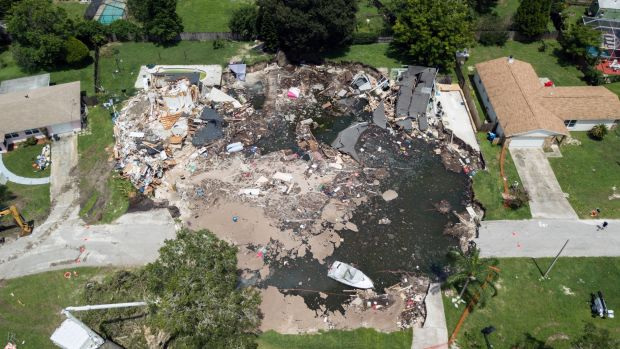 A large sinkhole in in Land O' Lakes, Florida.