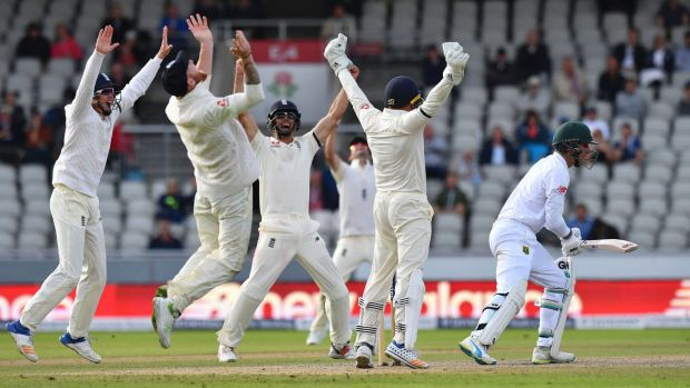 South Africa's Duanne Olivier (right) is caught by England's Ben Stokes (second left) as England win the Test match.
