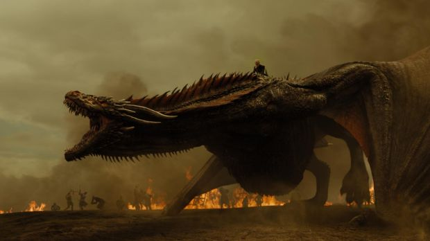 Daenerys rode her dragon to undertake a fiery attack on her enemy's forces.