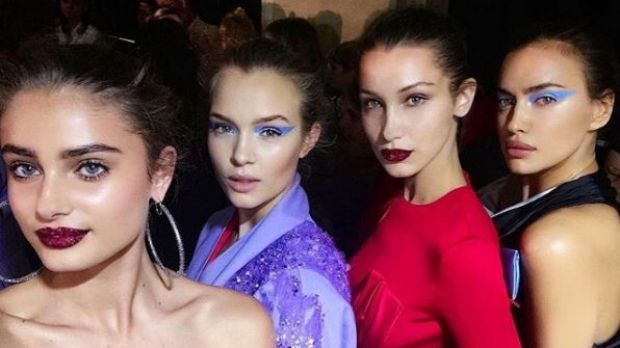 Taylor Hill, Josephine Skriver Bella Hadid and Irina Shayk backstage at last year's Versace runway.