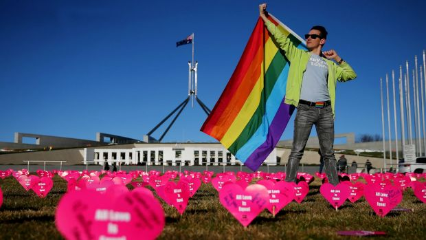 Marriage equality advocate Russell Nankervis outside Parliament House.